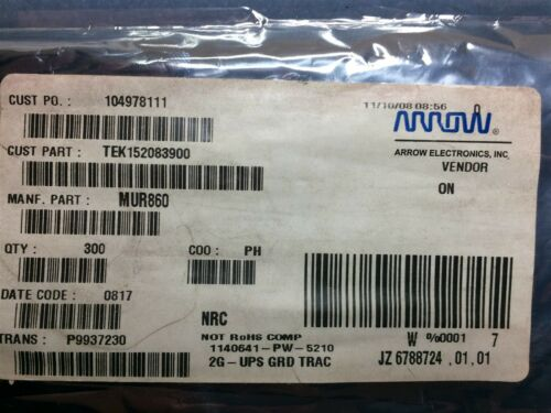 MUR860 ON SEMI DIODE RECTIFIER 600V 8A TO220AC 10 PIECES