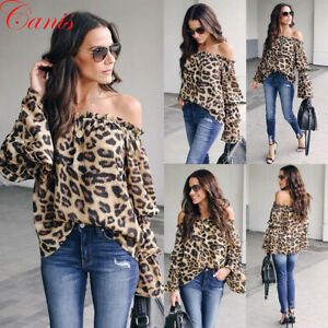 Women-Tops-Long-Sleeve-Leopard-Print-Off-Shoulder-Loose-T-Shirt-Casual-Blouse