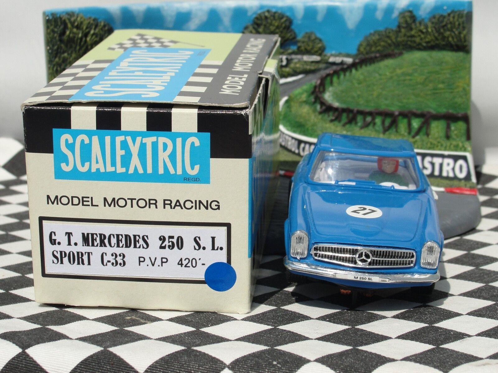 Scalextric espagnol G.T. G.T. G.T. Mercedes 250SL Bleu 27 1:32 Slot EntièreHommes t neuf dans sa boîte 80f3a3