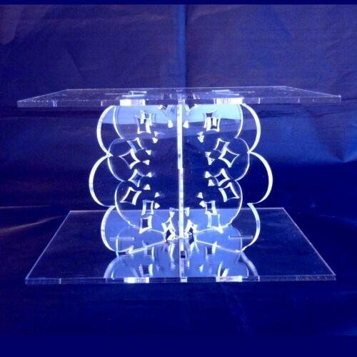 Acrylique Transparent Carré Napperon Mariage /& Fête Gâteau Stand 15 cm /& 18 cm