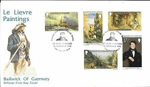 GUERNSEY-F-D-C-15-11-80-SG-221-25-CHRISTMAS-034-LE-LIEVRE-PAINTINGS-034-INSERT