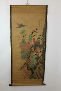 Altes-grosses-Rollbild-aquarellierte-Druckgrafik-Gelehrter-Adelige-China