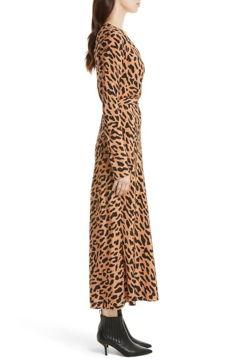 NWT Diane von Furstenberg Midi Woven Silk Wrap Dress in Belmont Camel $468