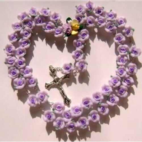 purple soft cerami rosary cross crucifix catholic