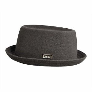 160d1f89acc Kangol Wool Mowbray Mens Wool Blend Pork Pie Small Brim Hat Slate ...
