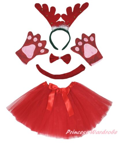 Xmas Red Ring Reindeer Headband Bow Tail Paw Skirt 5pc Kids School Party Costume