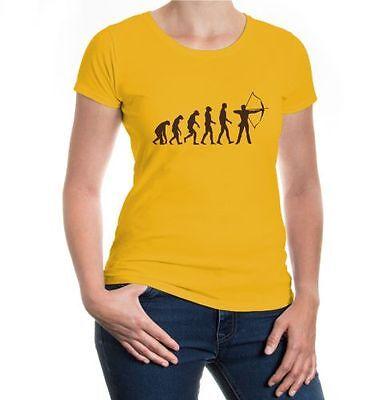 Donna Malvagia T-shirt The Evolution Of Archery Arco Sparare Schießsport Sagittario-
