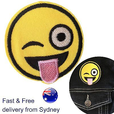 2Pcs Emoji Emotion Embroidery Iron On Applique Patch Sticker Sewing Craft Repair