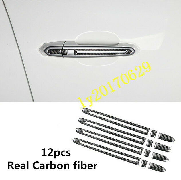 Real Carbon Fiber Side Door Handle Cover Trim For Cadillac