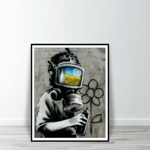 BANKSY Canvas Sunflower Field Mask Wall Art Print Street Graffiti Poster
