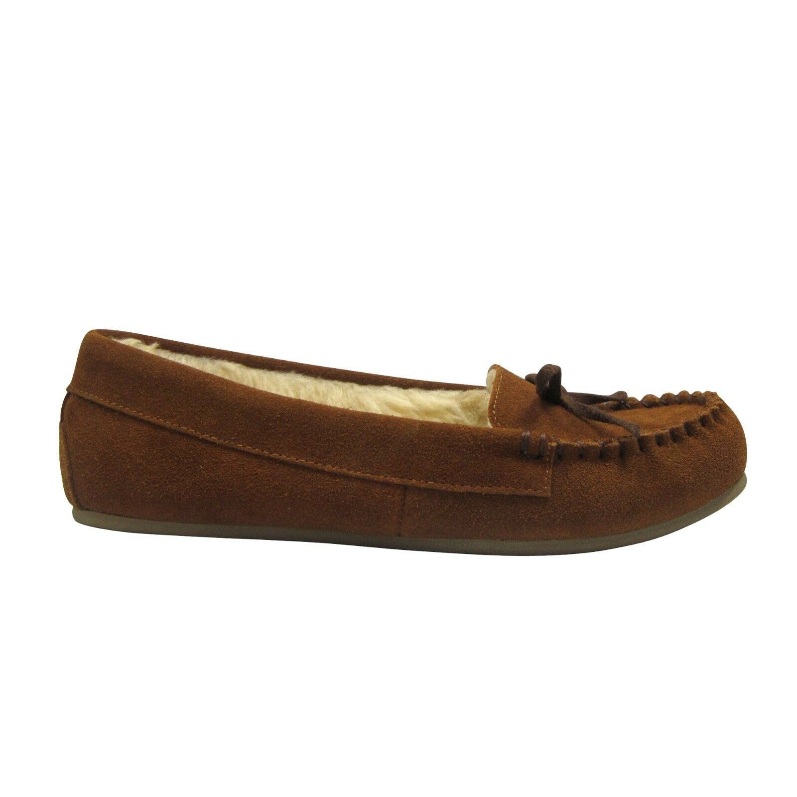 Moccasin Slippers Shoes Women's Chestnut Color Size X-Large 11-12 Leather NEW