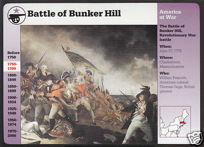 BATTLE OF BUNKER HILL Charlestown, Massachusetts 1775 Grolier Story America Card