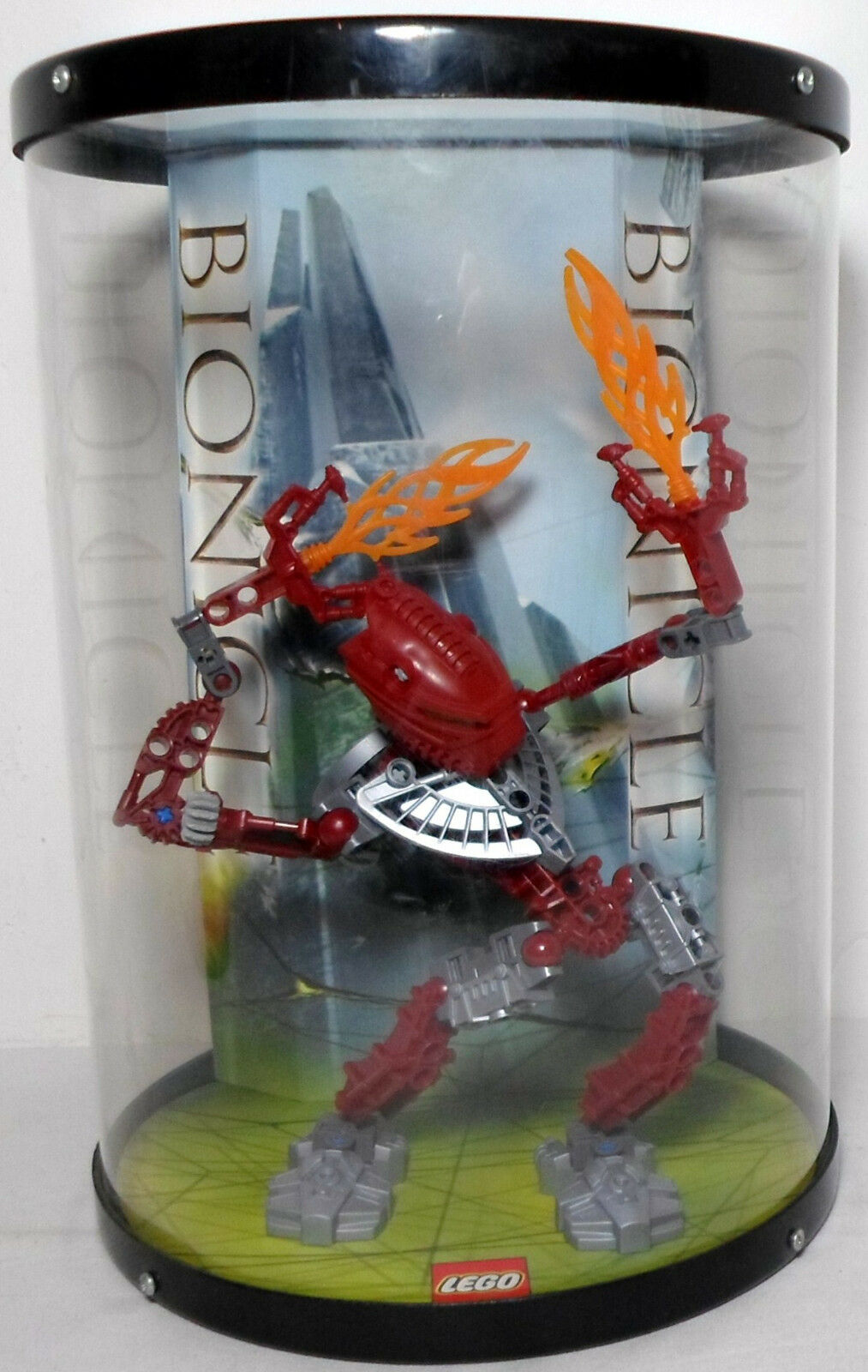 Lego Bionicle mostrar caso Toa Hordika Vakama Rojo Obra Maestra única VHTF Raro