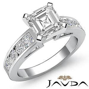 Asscher-Corte-Juego-Canal-Anillo-de-Compromiso-Diamante-GIA-H-VS2-14k-Oro-Blanco