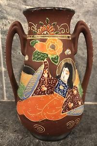 Vintage-Satsuma-Porcelain-Vase-Gold-Nobleman-Colorful-Scenic-JAPAN-Hand-Painted