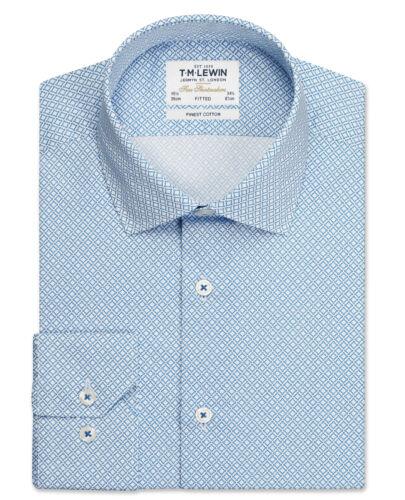 T.M.Lewin Mens Gyroscopic Print Fitted Blue Single Cuff Shirt