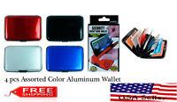 4 Pcs Waterproof Business Id Credit Card Wallet Aluminum Metal Pocket Case