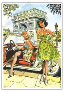 Ex-libris-MEYNET-BD-Pin-up-Paris-Arc-de-Triomphe-2012-numerote-signe-format-A4