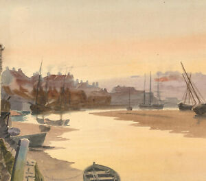 Early-20th-Century-Watercolour-Fishing-Village-with-Boats