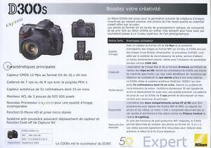NIKON feuillet technique D300S édition 09/2009. en français