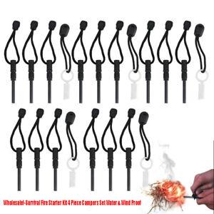 """Lots 3.3""""x0.3"""" Waterproof Magnesium Ferro Rods Flint Fire Starter w/ Striker USA"""