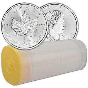 2020 Canada Silver Maple Leaf - 1 oz - $5 - 1 Roll - Twenty-five 25 BU Coins