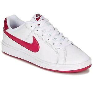 Detalles de Nuevo Para mujeres Zapatos Tenis Nike Court Royale Entrenadores  De Cuero Blanco/Rojo Noble- ver título original