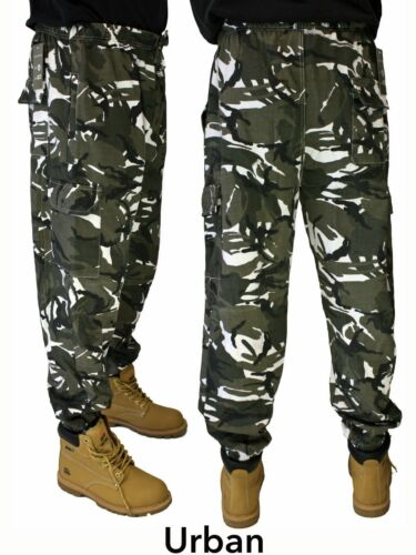 Adults UNISEX Camouflauge Camo Cargo Pants Bottoms Joggers Army Woodland