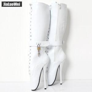 Size-36-46-Women-SM-Ballet-Dance-Super-High-Heel-Stiletto-Lace-Up-Mid-Calf-Boots