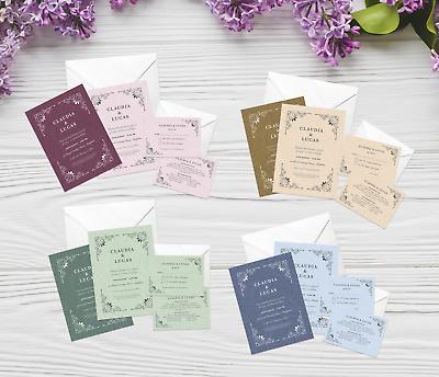 Entusiasta Vintage Personalizzato Matrimonio Invito Set | Giorno/sera Inviti, Rsvp & Dettagli-