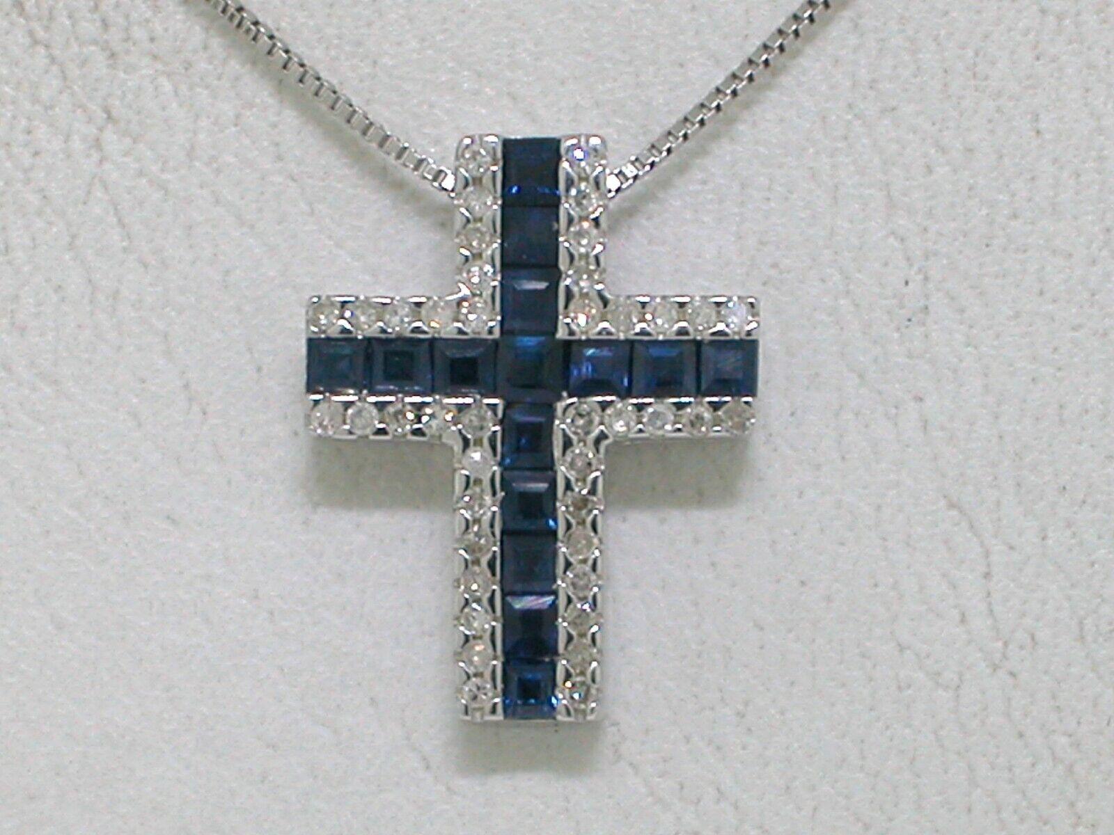 Valore  Zaffiro Diamante Croce Ciondolo Ciondolo Ciondolo Catena 585er oro BIANCO 14k oro a0773c