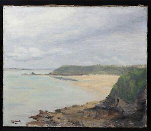 HonnêTe Ancienne Marine Signature Bretagne ? Hst Étiquette De Collection / Exposition