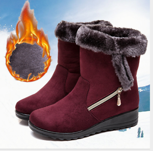 Women-039-s-Winter-Warm-Suede-Ankle-Snow-Boots-Fur-Thicken-Flats-Casual-Cotton-Shoes