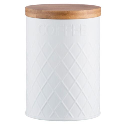 Typhoon vivant en relief blanc acier inoxydable Café stockage bidon bambou couvercle