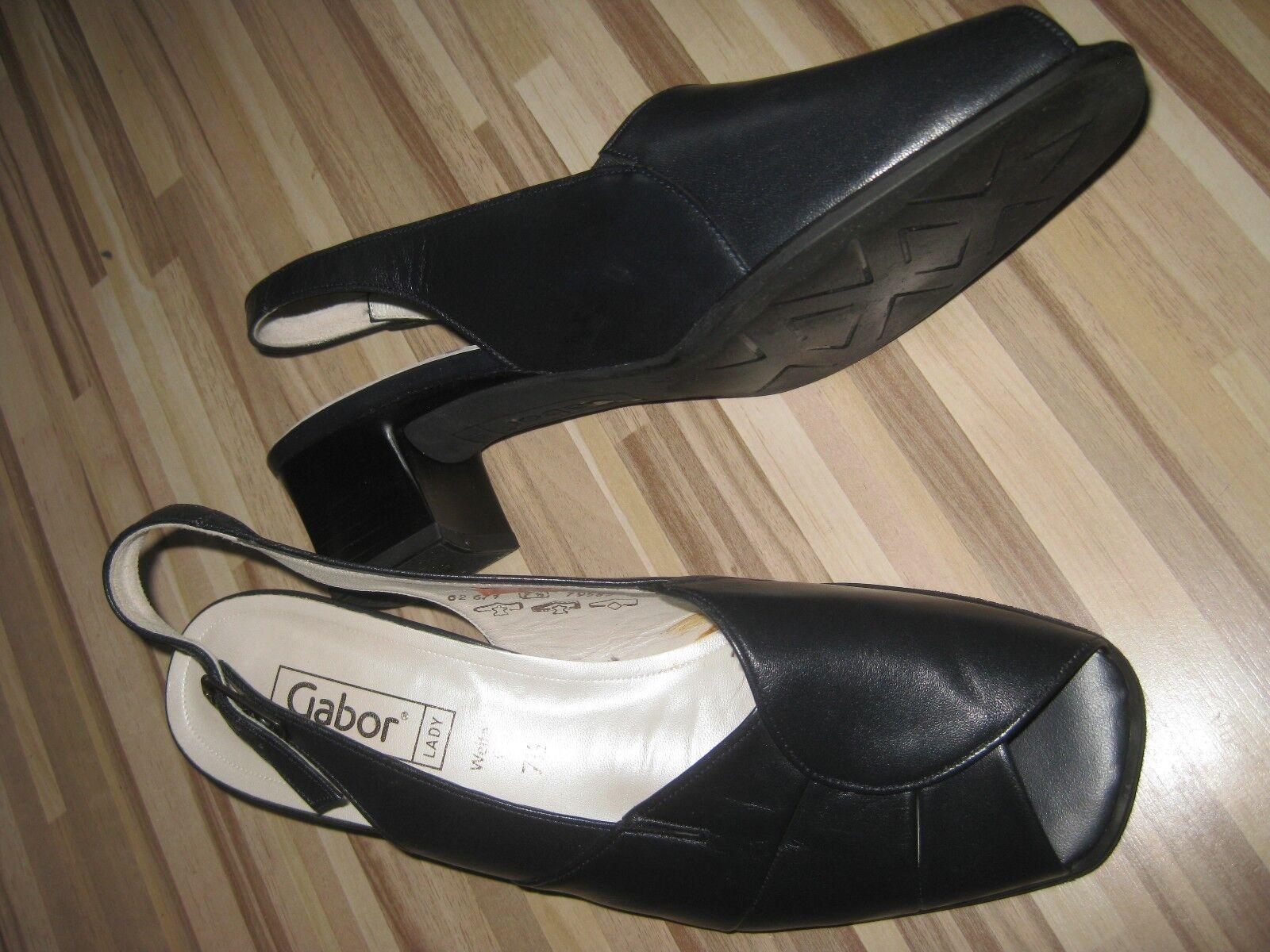 GABOR Lady Comfort Leder Sandaletten Gr.41 Gr.7,5 G anthrazit Neu