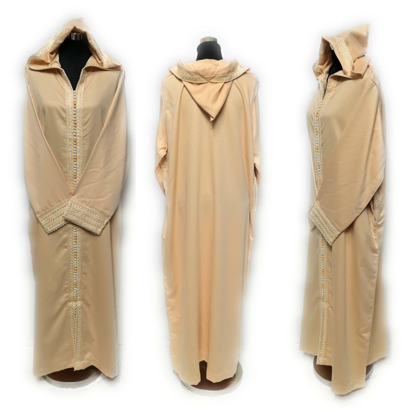 Damen Marokkanisch Wolle mit Kapuze Lang Maxi Kleid Djelleba Robe Enge Passform