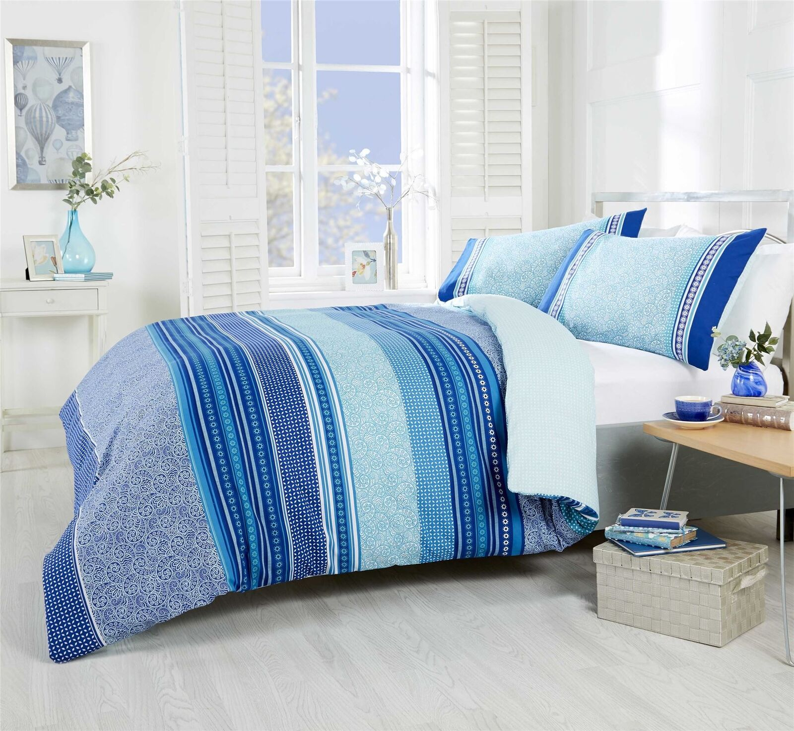PAISLEY GEOMETRIC STRIPED TEAL blueE COTTON BLEND KING SIZE 6 PIECE BEDDING SET