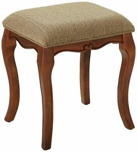 Incredible Details About Hard Wood Bed Room Vanity Stool Back Less Chair Fabric Padded Seat Cherry Finish Squirreltailoven Fun Painted Chair Ideas Images Squirreltailovenorg