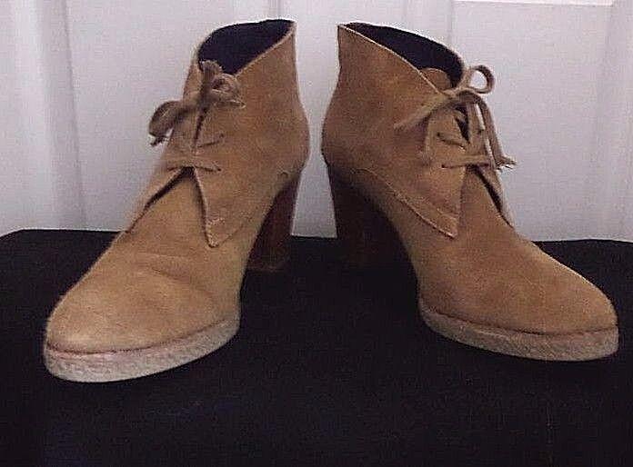 GAP Camel Brown Suede Leather Stack Heel Ankle Booties  Sz 9