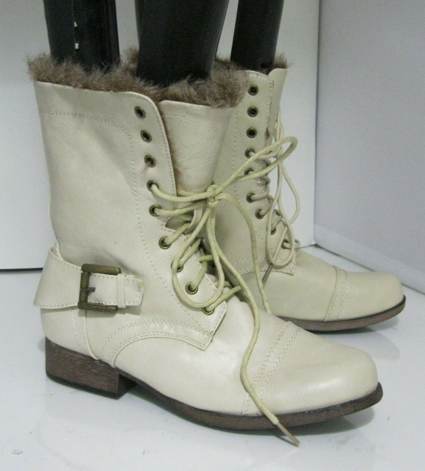 Ivory 1  Low Block Heel Fur Sexy Lace Up Sexy Ankle Boot Size 7