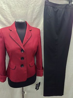 "LESUIT PANT SUIT/RED/BLACK/NWT/RETAIL$200/SIZE18/FULLY LINED/INSEAM 32""/"