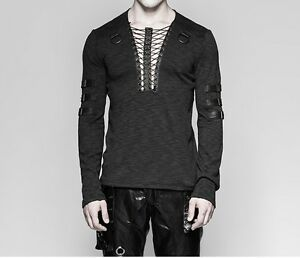Punk-Rave-Men-039-s-Gothic-Steampunk-Rock-Longsleeve-T-shirt