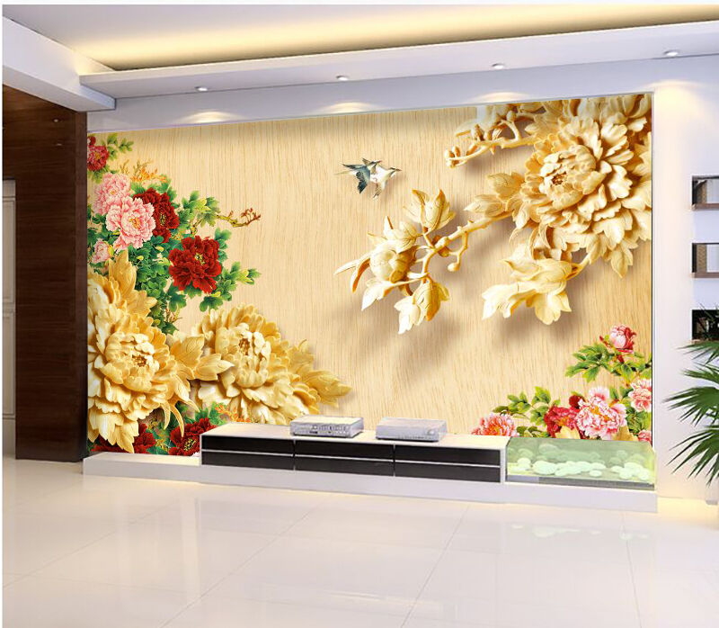 3D Peony Flowers Birds 1871 Paper Wall Print Wall Decal Wall Deco Indoor Murals
