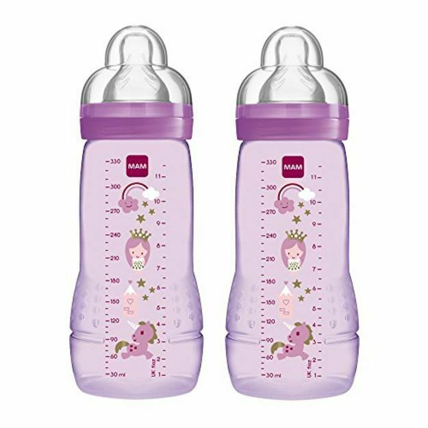Color Assorted Fast Flow Twin Pack 330 ml MAM Easy Active Baby Bottle