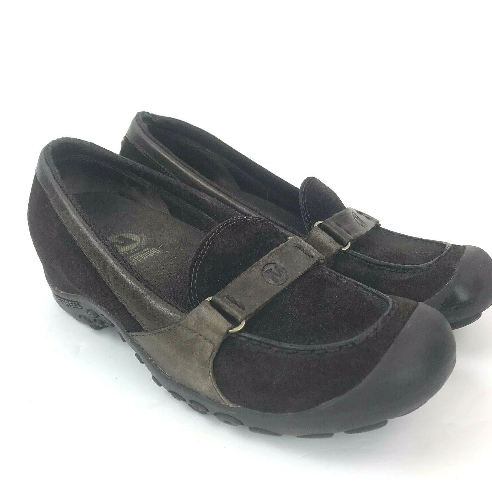 MERRELL Plaza Glide Chocolate Brown Suede Leather Ortholite Slip On shoes 6.5
