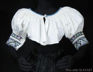 Handmade-embroidered-peasant-blouse-Slovak-folk-costume-kroj-ethnic-crop-top-M-L