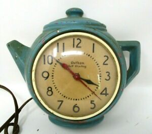 Ceramic-Teapot-Clock-Vintage-1930s-Gotham-Wall-Tea-Pot-Kitchen-Decor-not-working