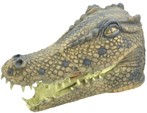 Mens Ladies Crocodile Rubber Mask Animal Halloween Fancy Dress Costume Outfit