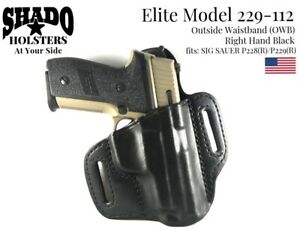 SHADO Leather Holster USA Elite Model 229-112 Right Hand Black OWB Sig Sauer
