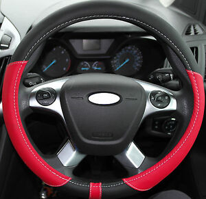 FORD FAUX LEATHER STEERING WHEEL COVER RED